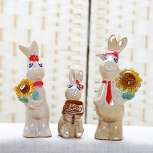 Home Decoration Crafts Rabbit Family Decor Ornament Concise Fashion