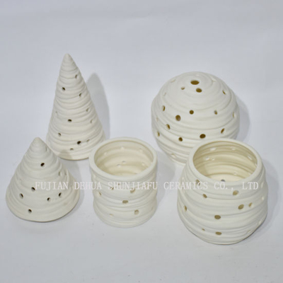 Unglazed Ware Ceramic Candle Holders for Christmas Decoration