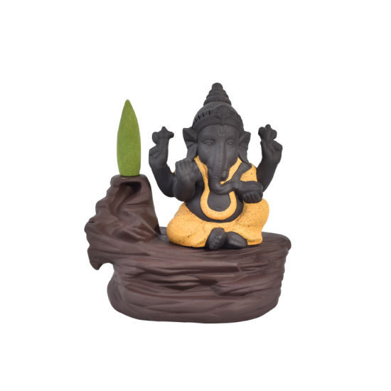 Yellow Ceramic Ganesha Incense Burner Smoke