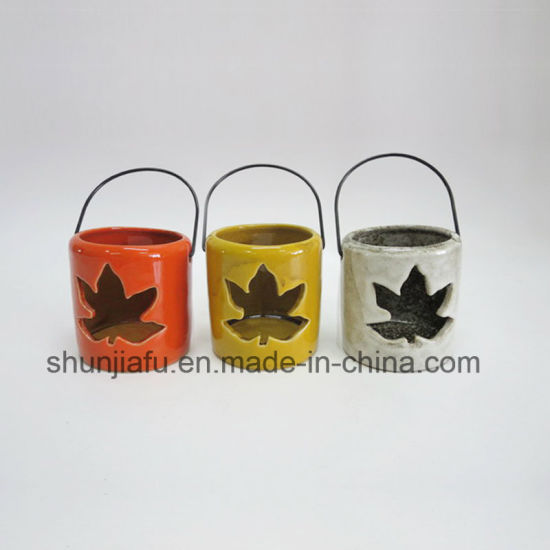 Maple Leaf Type of Ceramic Hurricane Lantern