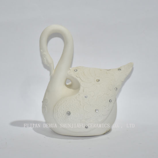 Ceramic Swan Bank with Artificial Crystal, Makes a Perfect Unique Gift, Nursery Dé Cor, Keepsake, Orsavings Piggy Bank for Kids, White