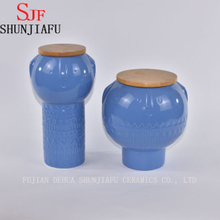 Modern Design Blue Ceramic Food Storage Canister