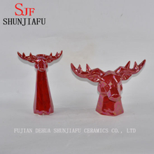 Ceramic Antelope Head for Home Decoration Pearl Glazed Finish Red