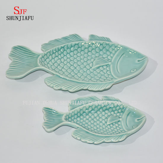Ceramic Fish Platter Vinegar Tableware Dinner Plates-Ocean Series/B