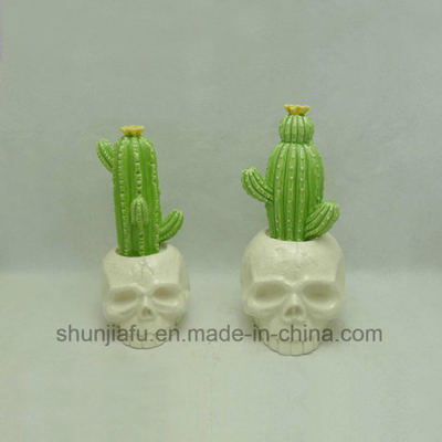 Ceramic Cactus with Skull Head Home Furnishing