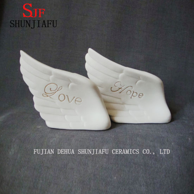 Ceramic Angel Wings with Letter