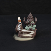 Home Stick Holders green Ganesha Backflow Incense Burner Elephant god Emblem Auspicious and Success Ceramic Cone Censer Home Decor