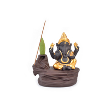Ceramic golden Ganesha Backflow Incense burner Waterfall counterflow Smog