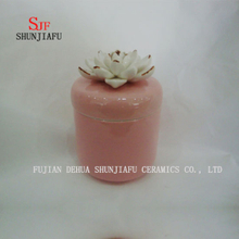 Colors Ceramic Jewelry Box with White Rose Flower Lid