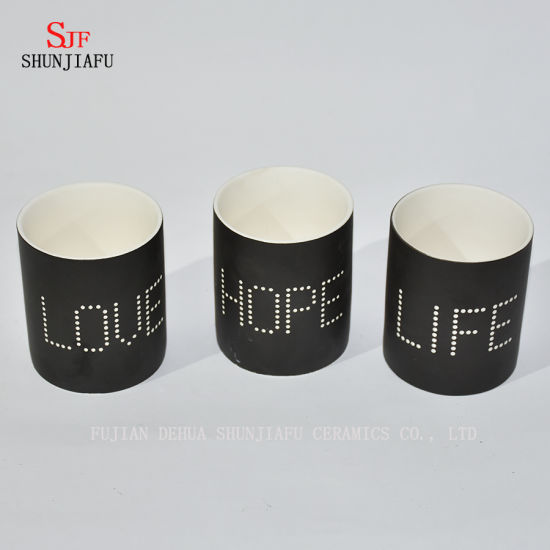 New Design Black Letter Design Ceramic Candle