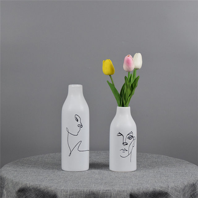 Home Decoration handwork Drawing faces expression painted picture Abstract Faces Decorative Ceramic face vase