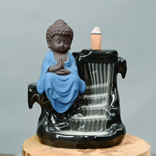 Buddha Monk Ash Catcher Tower Incense Cone Backflow Stick Holder Professional production Green Buddha Ceramic Backflow Incense Burner