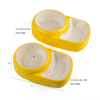 Tigger Max Exclusive Use Double Bowl High And Low Style Yellow Ceramic Pet Feeder Ceramic Cat Bowl