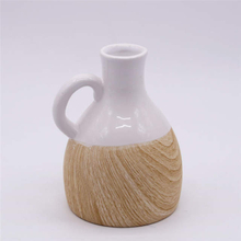 Home Decoration Fashion Simple Table Vase Wood Grain With Handle Ceramic Vase