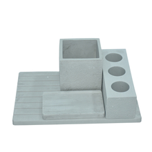 Gray Horizontal Plate 4 Holes Diatomite Toothbrush Holder Toothbrush Holder Soap Dish Etc Suit