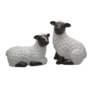Sitting sheep Ceramic White Farm Sheep Statues Decoration