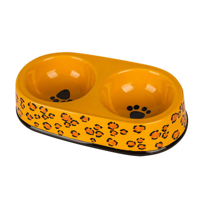 Black Circle Edge Bowl Bottom Printing Dog Footon Circular Dog Footon Yellow Ceramic Double Bowl Integration Dog Bowl Ceramic Pet Feeder