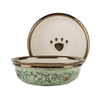 Gold Round Edge Bowl Bottom Printing Dog Footprints Ceramic Dog Bowl Ceramic Pet Feeder
