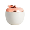 Plated with Rose Gold Ceramic Cover Apple-style Ceramic Candle Jar