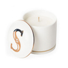 with Printed Gold Letters Ceramic Lid Black Ceramic Candle Jar