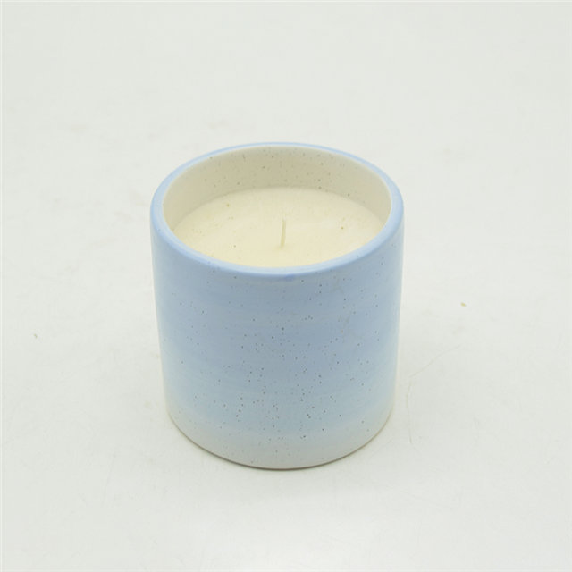 Light blue and gold flecked ceramic candle cups