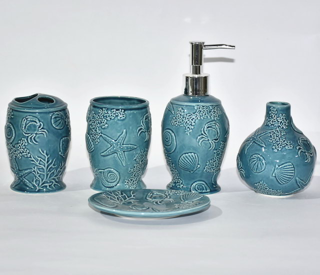 Pumpkin Design Set Five Bathroom Sanitary Bathroom Accessories Ceramic Bathroom Accessory Set