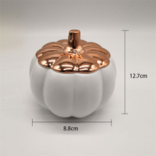 Gold Plated Pumpkin Lid Ceramic Lid White Ceramic Pumpkin Candle Jar