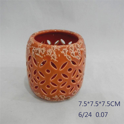 Home Furnishing Decoration Orange red Ceramic Cylinder Strip Shape Style Hollowing Out Hurricane Ceramic Lantern