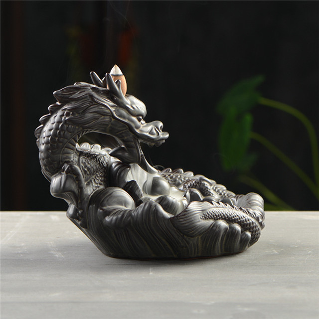 Thread Incense Socket Ceramic Waterfall Reflux Incense Large dragon Dragon play pearl Ceramic fingered citron Dragon Backflow Incense Burner
