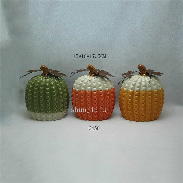 three pcs sets Silvery P Ceramic umpkin Decorations for outside Golden Ceramic Pumpkins