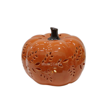 Pink Ceramic Pumpkins Shape LED Lantern Ceramic Pumpkin Hollowed Out Lantern Ceramic Pumpkins Decorations